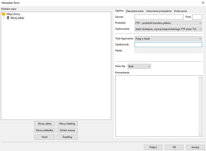 Menadżer serwerów w FileZilli