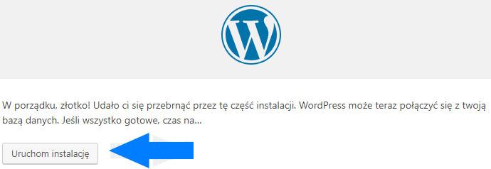 Uruchomienie instalacji WordPressa