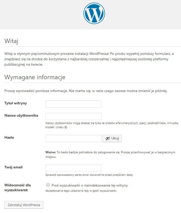 Instalacja WordPressa krok 2