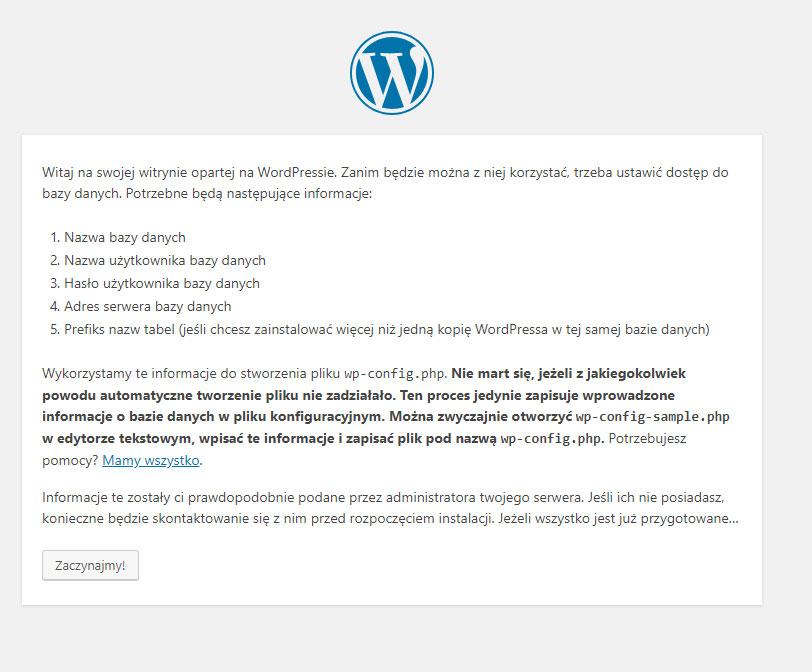 Instalator WordPressa krok pierwszy