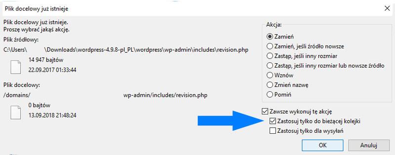 Okienko podczas transferu plików WordPressa