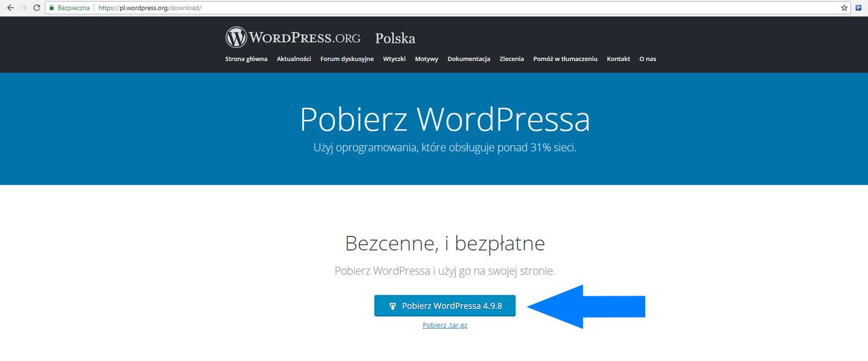 Pobieranie WordPressa z oficjalnego repozytorium