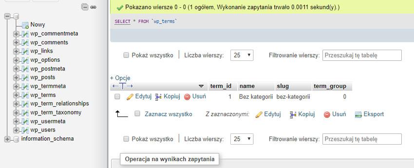Baza danych WordPressa - struktura tabeli wp_terms