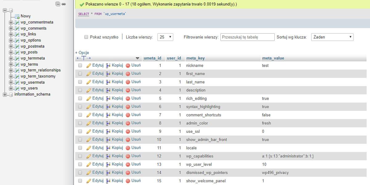 Baza danych WordPressa - struktura tabeli wp_usermeta
