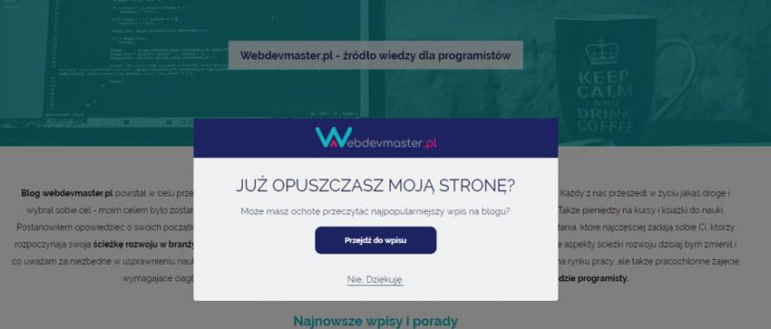 Wyskakujące okienko na WordPressie - efekt końcowy