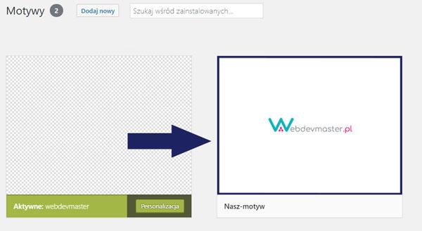 Tworzenie własnego motywu do WordPressa - widok w panelu