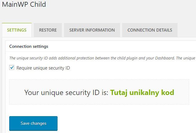 MainWP Child - generowanie kodu do połączenia