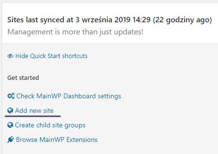 MainWP Dashboard - dodawanie nowego serwisu