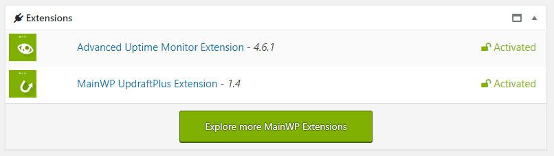MainWP - zakładka dodatki