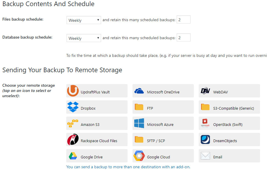 Updraft Plus - wybór miejsca przechowywania backupów